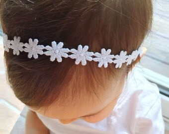 White Flower Halo Headband, baby headband, halo headband, baby girl, girl toddler, newborn photo prop