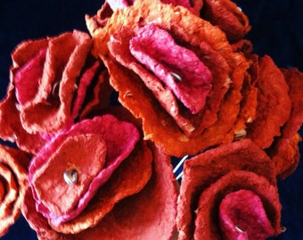 Red/orange handmade paper mache roses, paper flowers, handmade roses