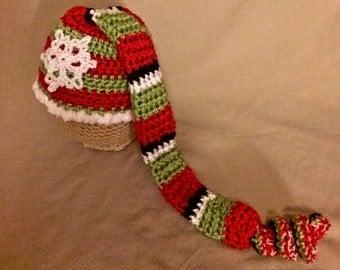Elf Hat, Christmas Hat, Christmas Elf Hat, Crochet Baby Hat, Crochet Elf Hat, Stocking Hat, Newborn Hat, Photo Prop, Green, Red, White
