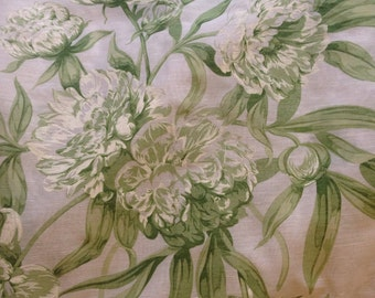 Green Peonies on White Voile 2.25 Yards