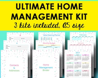 Home Management Planner A5, Household Binder Printable, Home Planner, Address Book Printable, Monthly Calendar 2017, A5, Instant Download