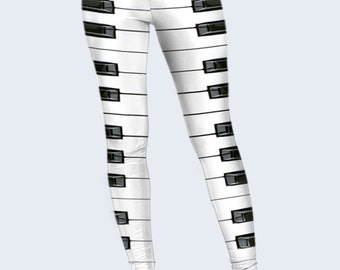 Piano Printed Leggings, Original Leggings for Women, Cool Leggings, Music, Black and White