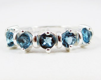London Blue Topaz Wedding Band Sterling Silver