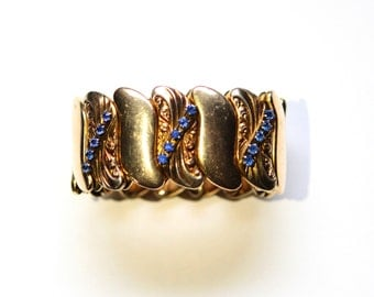 Vintage Bugbee & Niles Signed Stretch Cuff with Blue Rhinestones, Estate Jewelry, Wide Bracelet