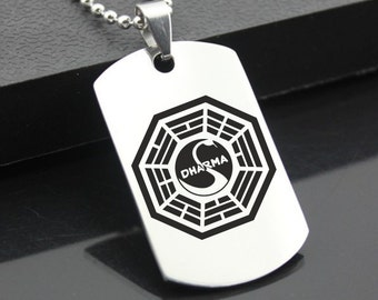 Lost Dharma Swan Station Stainless Steel Dog Tag Military Dharma Initiative Sanskrit Fringe science Pendant Style Jewellery
