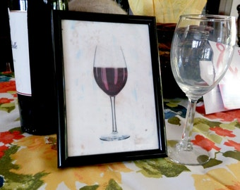 hostess gift, house warming, wine tasting, party, wine glass encaustic original painting 5x7 framed red wine