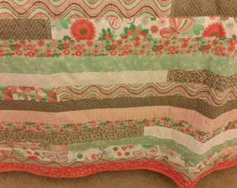Queen Size Jelly Roll Quilt with Hues of Greens & Oranges