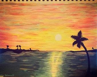Paradise Sunset Acrylic Painting - Original Art by Amie Nowell