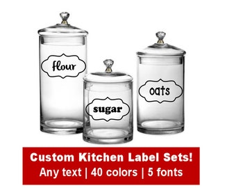 Custom Kitchen Canister Label Set, Choose Text/Font/Color, Kitchen Container Labels, Kitchen Storage, Pantry Label Set, Kitchen Decals