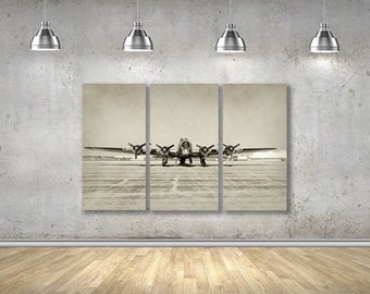 Vintage Airplane Wall Decor, Multipanel Wall Art, 3 panel Canvas, Multi panel Canvas art, Canvas Wall Decor, B17 Bomber
