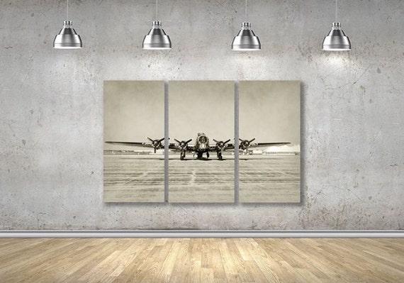 Vintage Airplane Wall Art vintage airplane wall decor multipanel wall art 3 panel