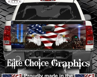 911 Tribute American Flag Eagle Truck Tailgate Wrap Vinyl Graphic Decal Sticker Wrap