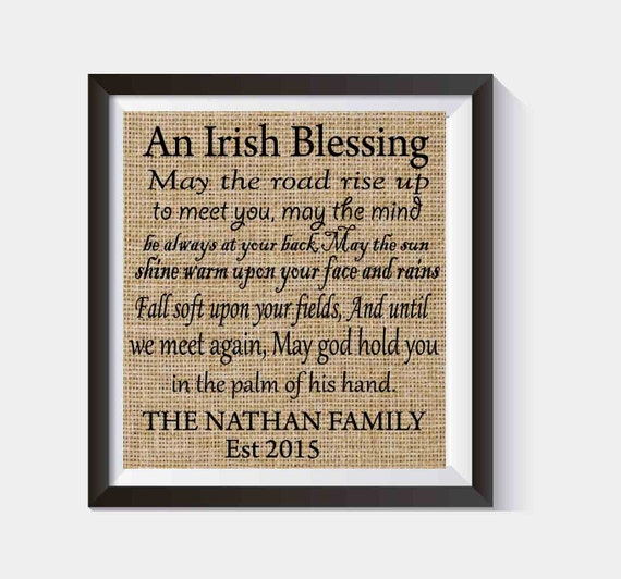Personalized Irish Blessing House Warming Gift By