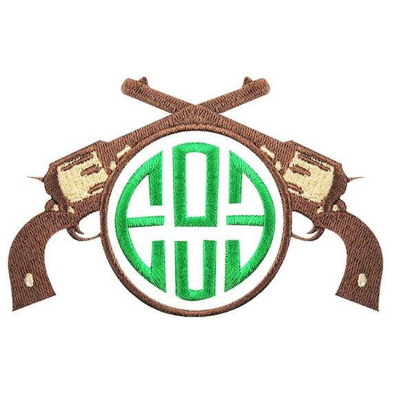 Gun hunting monogram embroidery design frame by yetiemb on
