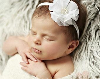 Newborn Headband, Baby headbands,white baby headband, Christening headband, Baptism headband, Baby headband, Skinny Nylon Headband,White Bow