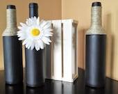 Decorative bottles in pallet crate, Wine Bottle Decor, Twine Wrapped Bottles, Black Painted Bottles, Decor, Country Decor, Rustic decor