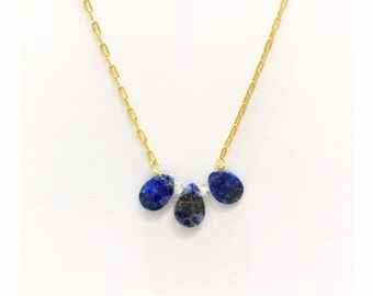 Gemstone Trio Drop Necklace