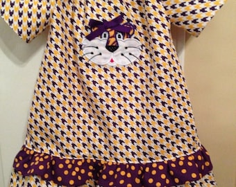 LSU Tiger Ruffled Peasant Dress with Tiger and Tail Applique