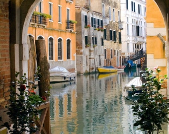 Venice Italy, Canal View, Archway View Photo, Orange Buildings, Canal Print, Venice Wall Decor, Venice Art, Fine Art Photo