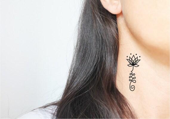 4 unalome temporary tattoos / small tattoo / black tattoo / symbolic tattoo / boho tattoo