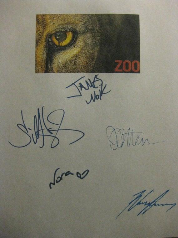 Zoo Signed Pilot TV Script Screenplay X5 Autograph James Wolk Billy Burke Nora Arnezeder James Patterson Nonso Anozie signature signatures