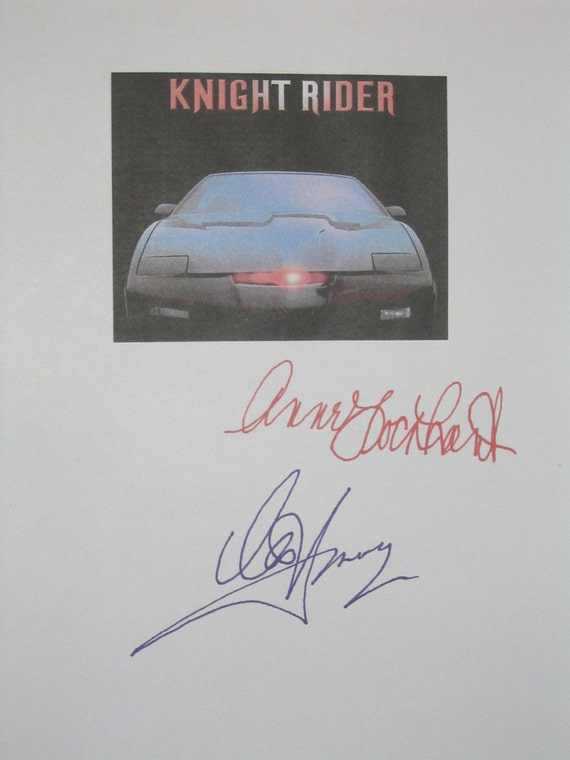 Knight Rider Signed TV Screenplay Script Autographs X2 David Hasselhoff Anne Lockhart classic tv show signatures