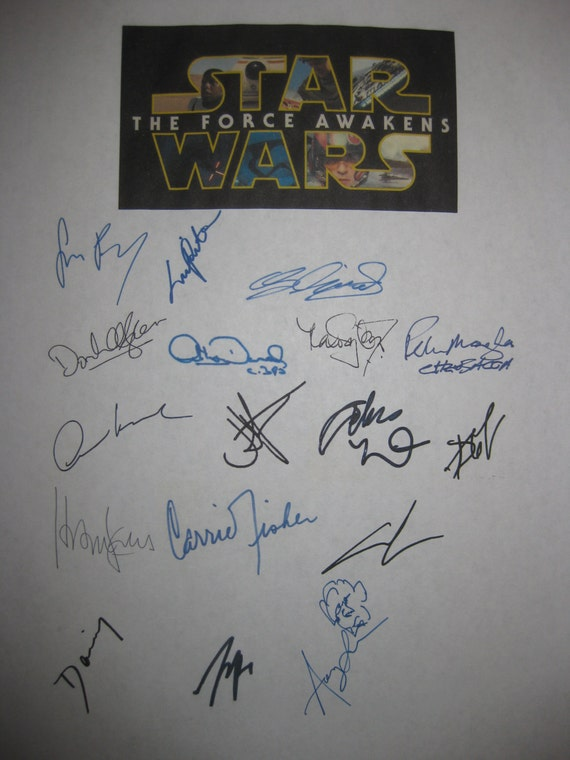 Star Wars The Force Awakens signed Film Movie script X17 George Lucas J.J. Abrams Harrison Ford Carrie Fisher Adam Driver Ridley