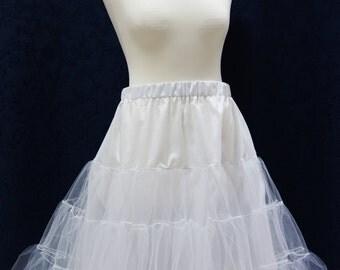 White tulle petticoat, 1950s style petticoat, 3 layers petticoat, full pin up petticoat, tulle underskirt