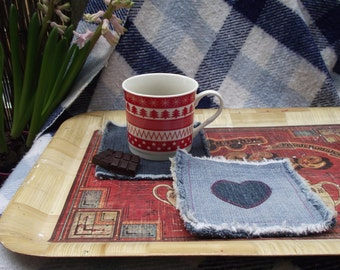 Recycled Denim Heart Coaster