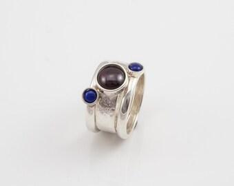 Silver stack rings set of 3 with Garnet & Lapis Lazuli
