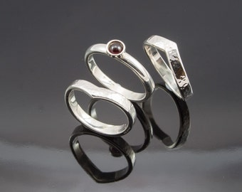 Silver stacking rings with Garnet