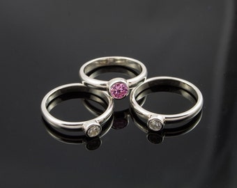 Silver Stack rings set with Pink and White Cubic Zirconia