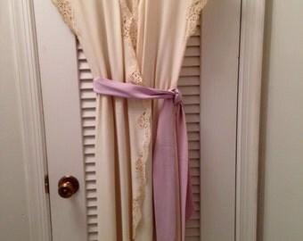 Vintage Lace Trimmed Masandrea Wrap Dress 1980