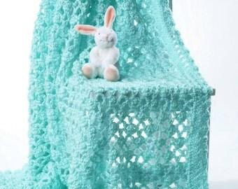 Baby Lacy Eyelet Blanket, Crochet Pattern. PDF Instant Download.
