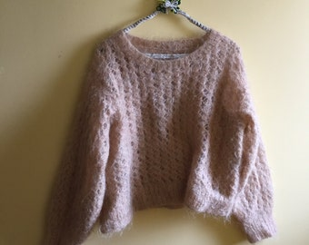 Mohair lacy knit sweatter