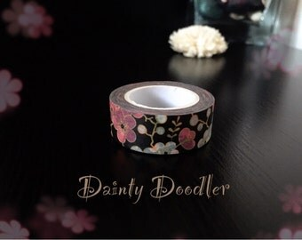 Pretty Floral Washi Tape / Adhesive / Planner Supplies / Diary / Scrapbook / Photo album / Craft