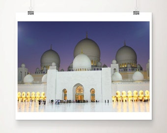 Sheikh Zayed Mosque (Abu Dhabi), at dusk - Print Only. 20x16 inch (50x40cm)