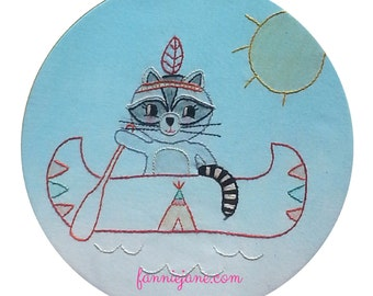 Hand embroidery pattern - Bandit the tribal raccoon