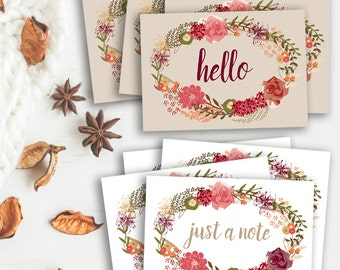 Set of 8 note cards, floral thank you card set, floral wreath note set, just a note cards, thank you card set, set of thank you cards