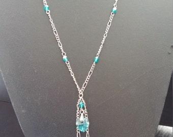 Necklace heart Swarvski light blue