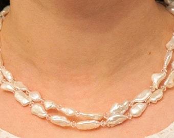 Bridal freshwater pearl necklace, Wedding double layer pearl necklace, Bridal pearl and crystal necklace, Swarovski bead and pearl necklace