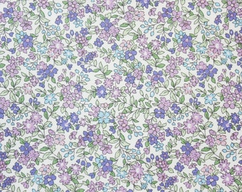 Floral Fabric, Cotton Fabric, Little Flowers Cotton, Purple Lavender, Dressmaking, Crafting, Quilting, Half Metre