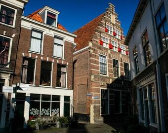 Dutch Street Scene. Travel Photography. Wall Art. Fine Art Print. Home Decor. Amsterdam. Leiden. Netherlands. Holland. Historic Buildings.