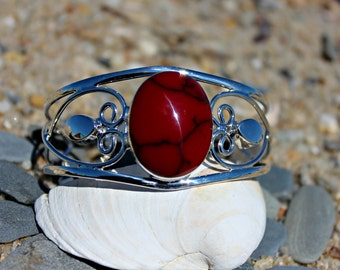 Black-Veined Blood Red Coral Sterling Silver Cuff Bracelet | Big Stone Cuff | 925 Sterling Silver Jewelry | Handmade Silver Bracelet Jewelry