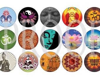 Digital Bottle Cap Image Sheet - Zen Peace Buddah - 1 Inch Digital Collage - Instant Download