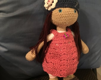 Adorable crocheted doll, Made To Order