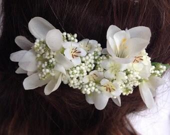 Handmade Freesia Flower Hair Comb