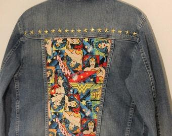 Customised Upcycled Wonder Woman Denim Jacket size 14
