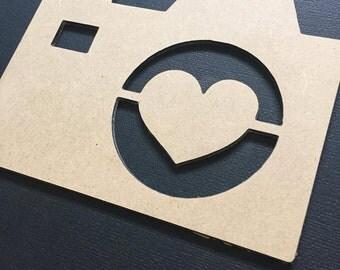 Camera Love Heart Cut Out Flat Lay Prop Photo Prop Scrap Booking Craft Supplies Nursery Decor Home Decor