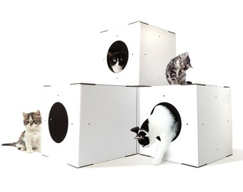 White Cat House 4 Pack, Modular Cat House, Cat Houses Indoor, Cat Houses